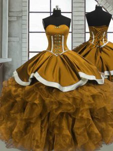 Beautiful Sleeveless Lace Up Floor Length Beading and Ruffles Sweet 16 Dress