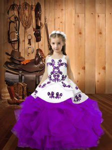 Floor Length Ball Gowns Sleeveless Eggplant Purple Little Girls Pageant Dress Lace Up