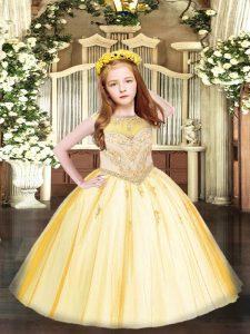 Floor Length Zipper Pageant Dress for Womens Gold for Party and Quinceanera with Beading and Appliques