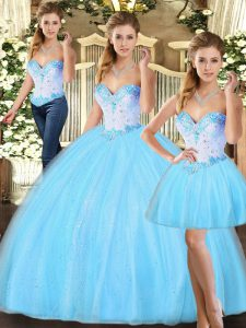 Great Sweetheart Sleeveless Lace Up 15 Quinceanera Dress Baby Blue Tulle