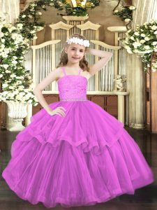 Lilac Straps Neckline Beading and Lace Pageant Dress for Girls Sleeveless Zipper