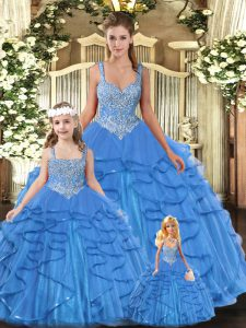 Floor Length Baby Blue Sweet 16 Dress Tulle Sleeveless Beading and Ruffles