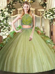 Most Popular High-neck Sleeveless Zipper Quinceanera Dresses Olive Green Tulle