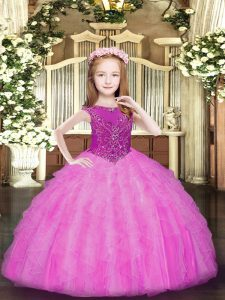 Latest Rose Pink Sleeveless Organza Zipper Child Pageant Dress for Party and Quinceanera