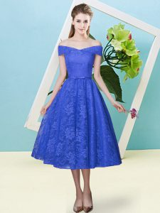 Ideal Cap Sleeves Lace Up Tea Length Bowknot Quinceanera Court of Honor Dress