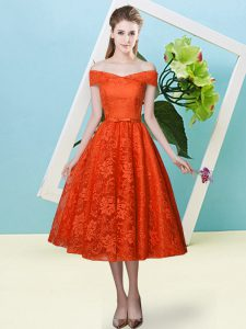 Rust Red Off The Shoulder Lace Up Bowknot Dama Dress for Quinceanera Cap Sleeves