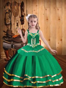 Ball Gowns Pageant Dress Wholesale Green Straps Organza Sleeveless Floor Length Lace Up