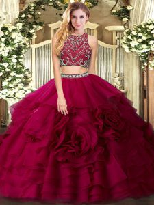 Best High-neck Sleeveless Tulle Quince Ball Gowns Beading and Ruffled Layers Zipper