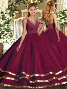 Floor Length Ball Gowns Sleeveless Burgundy Ball Gown Prom Dress Backless