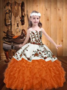 Straps Sleeveless Organza Pageant Dress Embroidery and Ruffles Lace Up
