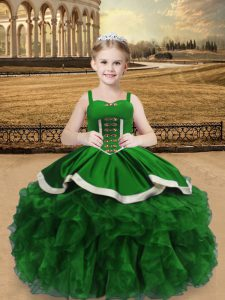 New Style Green Satin and Organza Lace Up Kids Formal Wear Sleeveless Floor Length Beading and Ruffles