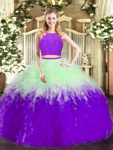 High Quality Sleeveless Zipper Floor Length Ruffles 15th Birthday Dress