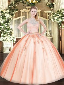 Sophisticated Floor Length Orange 15th Birthday Dress Tulle Sleeveless Lace and Appliques