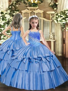 Excellent Floor Length Baby Blue Little Girl Pageant Gowns Straps Sleeveless Lace Up