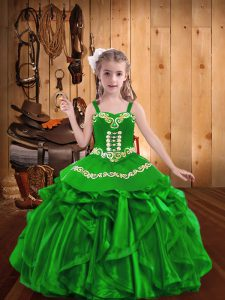 Embroidery and Ruffles Little Girls Pageant Dress Green Lace Up Sleeveless Floor Length
