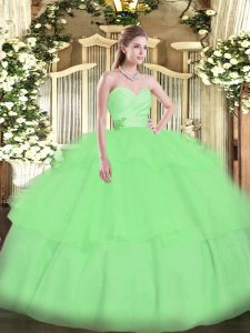 Dramatic Apple Green Ball Gowns Sweetheart Sleeveless Organza Floor Length Lace Up Beading and Ruffled Layers 15 Quinceanera Dress