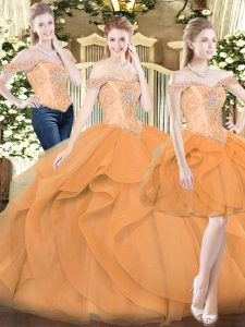 Traditional Sleeveless Organza Floor Length Lace Up Quinceanera Gown in Orange Red with Ruffles