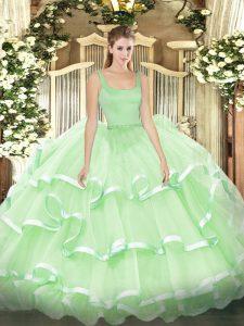 Classical Ball Gowns Sweet 16 Dress Apple Green Straps Organza Sleeveless Floor Length Zipper