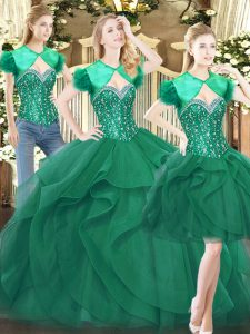 Customized Dark Green Lace Up Sweetheart Beading and Ruffles Quinceanera Dress Tulle Sleeveless