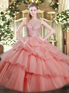 Watermelon Red Ball Gowns Tulle Scoop Sleeveless Beading and Ruffled Layers Floor Length Backless Quinceanera Gown