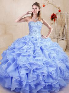 Low Price Lavender Ball Gowns Beading and Ruffles 15th Birthday Dress Lace Up Organza Sleeveless Floor Length