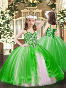 Dramatic Green Ball Gowns Beading Pageant Dress for Teens Lace Up Tulle Sleeveless Floor Length