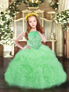 Super Apple Green Scoop Neckline Beading and Ruffles and Pick Ups Pageant Dress Sleeveless Zipper