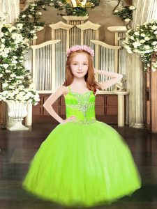 Sweet Yellow Green Lace Up Spaghetti Straps Beading Pageant Dress Womens Tulle Sleeveless