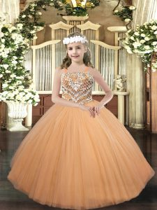 Peach Lace Up Straps Beading Child Pageant Dress Tulle Sleeveless