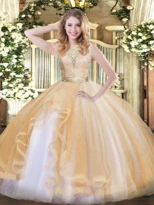 Sleeveless Organza Floor Length Backless Sweet 16 Dresses in Champagne with Lace and Ruffles