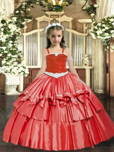 Coral Red Ball Gowns Organza Straps Sleeveless Appliques and Ruffled Layers Floor Length Lace Up Kids Formal Wear