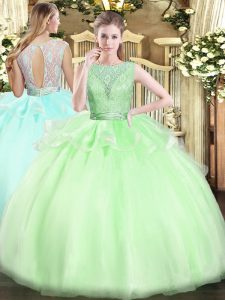 Simple Scoop Sleeveless Backless Ball Gown Prom Dress Organza