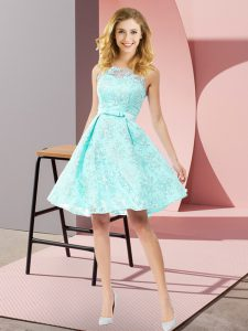 Apple Green Sleeveless Lace Zipper Quinceanera Dama Dress for Prom and Party and Wedding Party