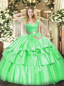 Decent Ball Gowns V-neck Sleeveless Tulle Floor Length Zipper Beading and Ruffled Layers Sweet 16 Dresses