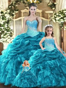 Wonderful Teal Ball Gowns Sweetheart Sleeveless Tulle Floor Length Lace Up Beading and Ruffles and Ruching and Pick Ups 15 Quinceanera Dress