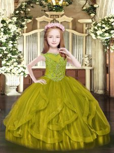 Excellent Olive Green Sleeveless Beading and Ruffles Floor Length Pageant Dress Wholesale