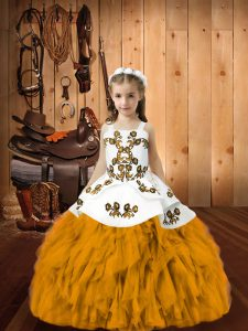 Gold Sleeveless Organza Lace Up Pageant Dress Toddler for Sweet 16 and Quinceanera