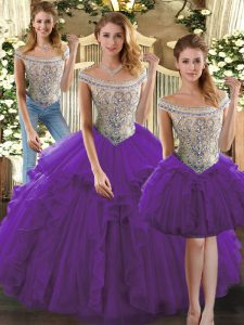 Fantastic Purple Sleeveless Organza Lace Up Sweet 16 Dress for Military Ball and Sweet 16 and Quinceanera
