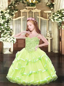 Great Ball Gowns Glitz Pageant Dress Yellow Green Spaghetti Straps Organza Sleeveless Floor Length Lace Up
