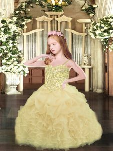 Champagne Ball Gowns Spaghetti Straps Sleeveless Organza Asymmetrical Lace Up Appliques and Ruffles and Pick Ups Kids Pageant Dress
