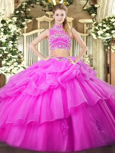 Hot Selling High-neck Sleeveless Quince Ball Gowns Floor Length Beading and Ruffles and Pick Ups Lilac Tulle