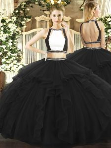Suitable Halter Top Sleeveless Backless 15 Quinceanera Dress Black Tulle