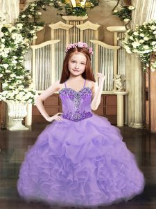 Lavender Sleeveless Organza Lace Up Girls Pageant Dresses for Party and Quinceanera