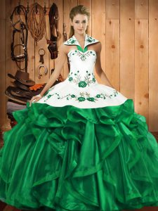 Halter Top Sleeveless Satin and Organza Sweet 16 Dresses Embroidery and Ruffles Lace Up