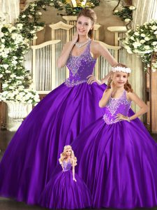 Classical Purple Sleeveless Organza Lace Up Quinceanera Dress for Military Ball and Sweet 16 and Quinceanera