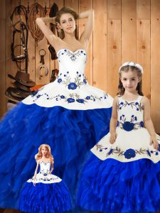 Blue And White Lace Up 15th Birthday Dress Embroidery and Ruffles Sleeveless Floor Length