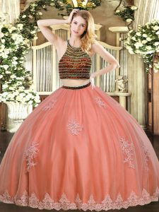 Colorful Sleeveless Zipper Floor Length Beading and Appliques Quince Ball Gowns