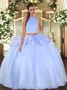 High Class Light Blue Halter Top Neckline Beading Ball Gown Prom Dress Sleeveless Backless