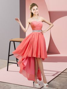 Sleeveless High Low Beading Lace Up Dama Dress with Watermelon Red