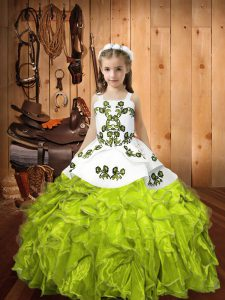 Pretty Yellow Green Ball Gowns Straps Sleeveless Organza Floor Length Lace Up Embroidery and Ruffles Pageant Gowns